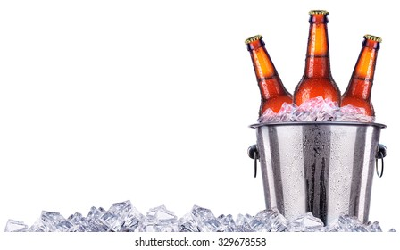 Beer bottles in ice bucket isolated on white background