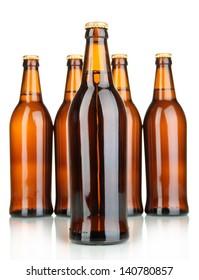 Beer bottles isolated on white