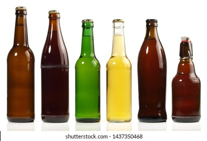 Beer Bottles on white Background - Panorama