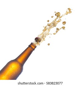beer bottles with popping corks . Isolated on white background
