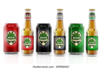 Beer bottles with three different labels isolated on white background