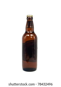 beer in brown bottle on a white background