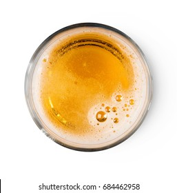 Beer with bubble foam on glass isolated on white background top view