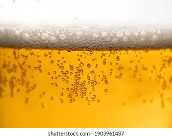 Beer with bubbles and foam in glass. Closeup