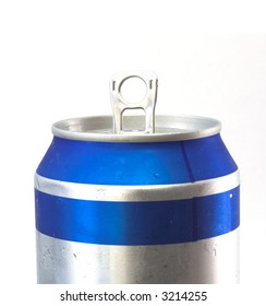 beer can close up shot agains white background