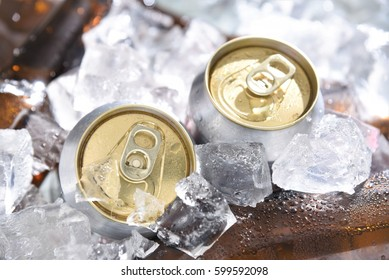 beer cans chill in ice