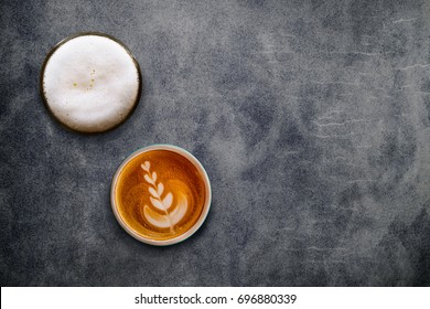 Beer and Coffee on blank Cement background, Top view, Different Personalities taste of People Concept