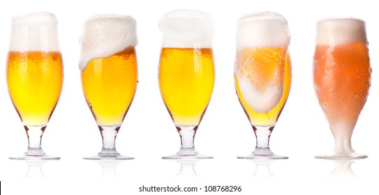 beer collection isolated on a white background