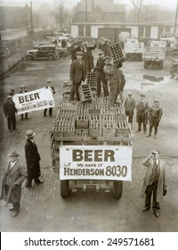Beer delivery in Cleveland, Ohio, on April 6, 1933, the day before it became legal to sell 3.2 beer.