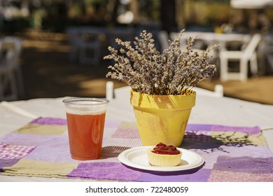 Beer and dessert on table of Lavender Festival of 123 Farm at San Bernardino, Los Angeles County, United States