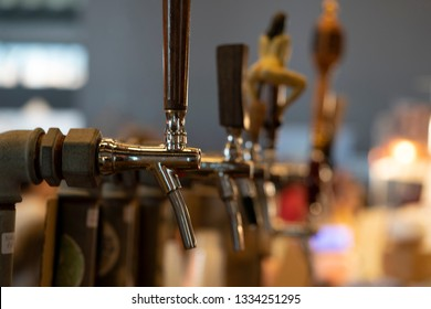beer disenser many of at the pub bar detail