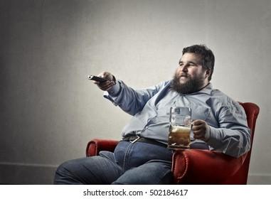 Beer drinker watching tv