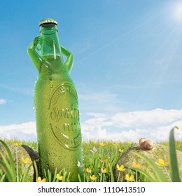 Beer enjoying of spring / 3D illustration