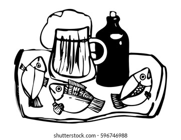 Beer and fish is a series of illustrations, graphics on a white background