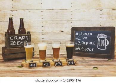 Beer Flight in American Brewery