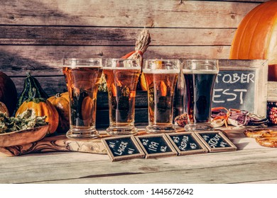 Beer Flight in fall season