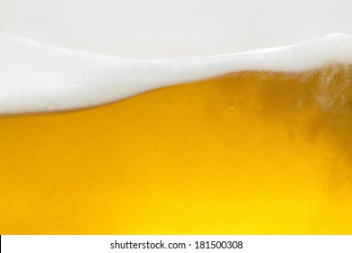 Beer foam wave with condensation drops and bubbles on golden Background