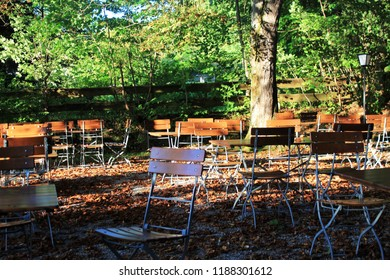 Beer garden with autumn foliage, Bavaria
