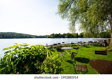 beer garden and coffee on wesslinger lake in bavaria