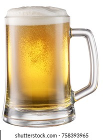 Beer glass with beer bubbles. File contains clipping paths.