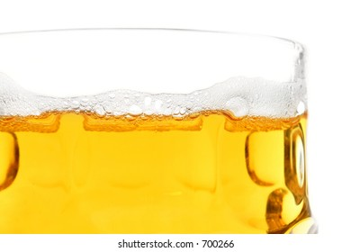 Beer in glass up close
