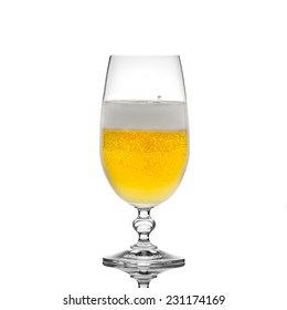 Beer in a glass with foam