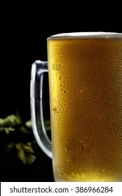 beer in glass and hops on a wooden background