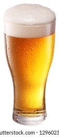 Beer glass isolated on white background. File contains clipping path.