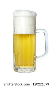 Beer in glass mug with foam, isolated on white