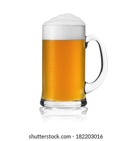 Beer glass beer mug stein glass mug beer mug with foam crown and drops of  condensation bayern munich golden isolated