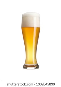 Beer glass with nice foam on white background