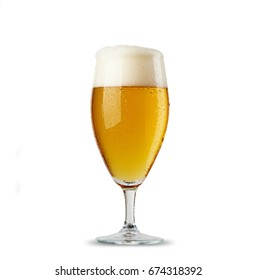 Beer glass on white background. Frosty glass