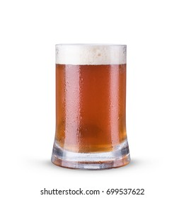 beer in glass with on white background