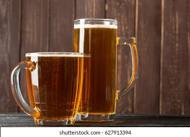 beer glass on a wooden background