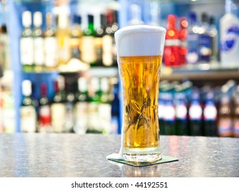 Beer in glass in a pub