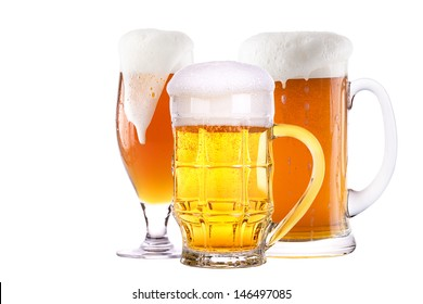 Beer glass set isolated on a white background