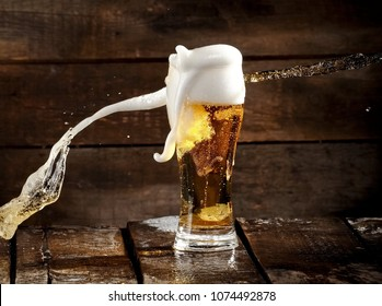 Beer glass splash