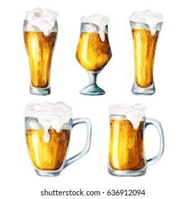 Beer glasses. Water?olor