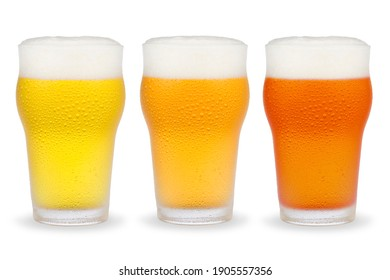 Beer glasses with different styles of beer isolated on white background.