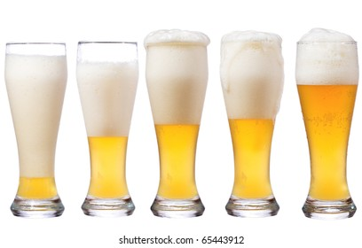 beer glasses on white background