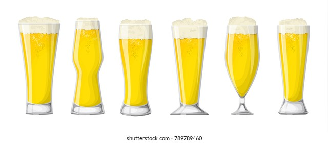 Beer glasses set. White beer or lager.