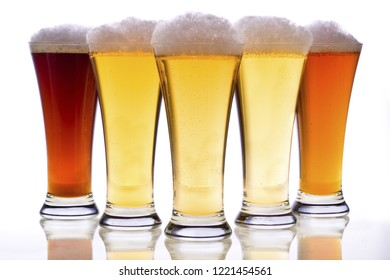 beer glasses with white background