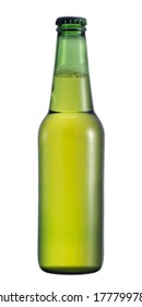 Beer in green bottle, with froth