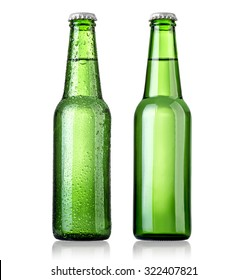 beer in a green bottle isolated on a white background