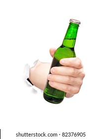 beer in hand brake trough white paper