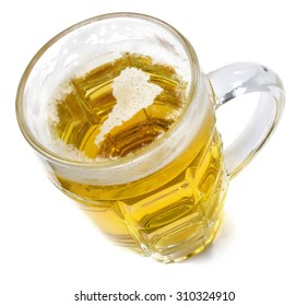 Beer head  in the shaped of America and a beer.(series)