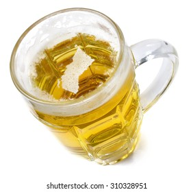 Beer head  in the shaped of British Columbia and a beer.(series)