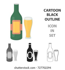 Beer icon in cartoon style isolated on white background. Alcohol symbol stock bitmap illustration.
