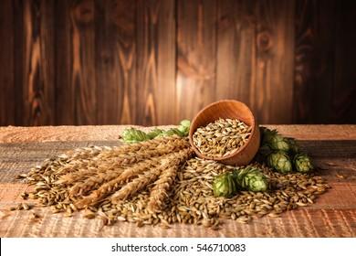 Beer ingredients on wooden background