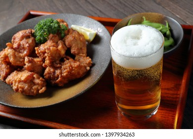 Beer and Karaage, Japanese fried chicken